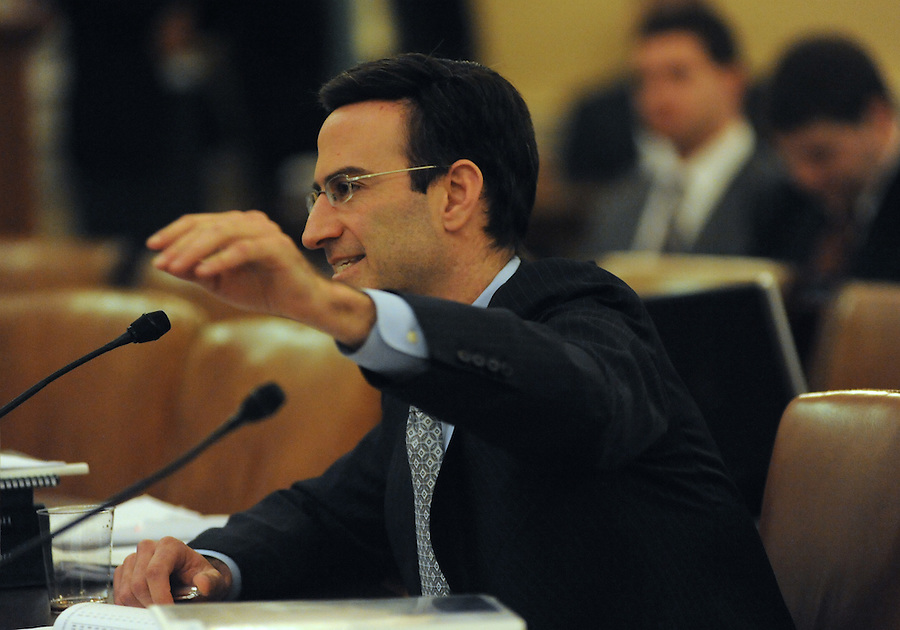 Washington, D.C.-Peter Orszag, director of the Office of Management and Budget, testifies before the House Ways and Means Committee about President Obama's proposed fiscal 2011 budget on Feb. 3, 2009. (Amanda Lucidon/For The New York Times)