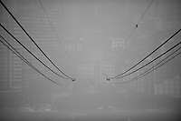 Daytime landscape view of Cable Car Cables across the Yangtze River in Chongqing, China.  © LAN