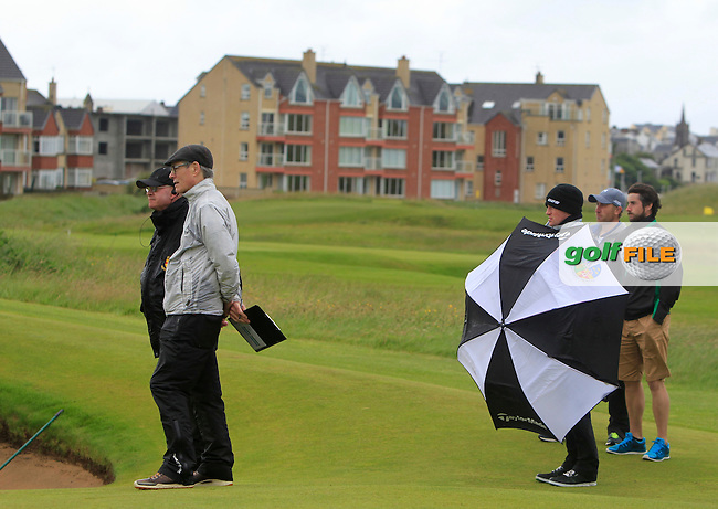 Brendan Coffey (G.U.I) at the 17th green during the Final of the North of Ireland Amateur Open Championship at Royal Portrush, Dunluce Course on Friday 17th July 2015.<br /> Picture:  Golffile | Thos Caffrey