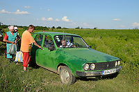 ROMANIA Banat, village Semlac, organic herbs farm, field worker in old car Dacia / RUMAENIEN Banat, Dorf Semlac, Heilkraeuteranbau, Landwirt Rado Tomuth bringt seine Mitarbeiter mit seinem Dacia ins Dorf