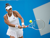 June 13th 2017, Nottingham, England; WTA Aegon Nottingham Open Tennis Tournament day 4;  Heather Watson of Great Britain plays a backhand against Alison Riske of USA