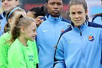 Piscataway, NJ - Sunday April 30, 2017: Kelley O'Hara, Maya Hayes during a regular season National Women's Soccer League (NWSL) match between Sky Blue FC and FC Kansas City at Yurcak Field.