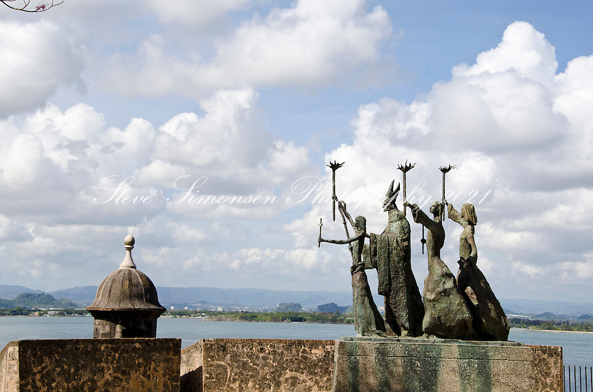 Plazuela de la Rogativa (plaza of the procession) was built in 1971, features a modern sculpture depicting a procession of religious women commemorates an event that took place on the site in 1797<br /> Old San Juan, Puerto Rico
