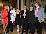 Baby Chloe Crimmins Clawson with parents Chris and Charlotte Godparents Tom Grant and Eva James, Grandfather Roddy Crimmins and Fr Joe from Dominican church Drogheda pictured at her baptism in St Peters church. Photo:Colin Bell/pressphotos.ie