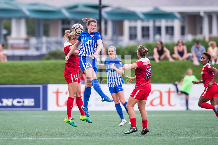 Boston, MA - Saturday July 01, 2017: Kristie Mewis and Morgan Andrews during a regular season National Women's Soccer League (NWSL) match between the Boston Breakers and the Washington Spirit at Jordan Field.