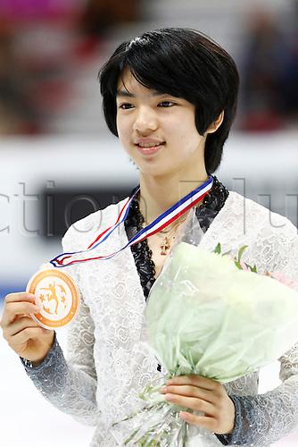 10.12.2016. Palais Omnisports, Marseille, France. ISU Junior Figure Skating Grand Prix Final.  Cha Jun Hwan (KOR) holds up his medal.