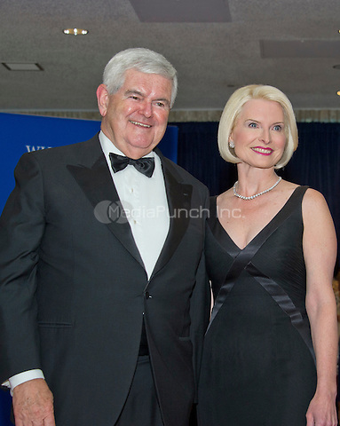 Former Speaker of the United States House of Representatives Newt Gingrich (Republican of Georgia) and his wife, Callista arrives for the 2016 White House Correspondents Association Annual Dinner at the Washington Hilton Hotel on Saturday, April 30, 2016.<br /> Credit: Ron Sachs / CNP<br /> (RESTRICTION: NO New York or New Jersey Newspapers or newspapers within a 75 mile radius of New York City)/MediaPunch
