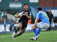 Manu Tuilagi in possession. Heineken Cup match, between Leicester Tigers and Treviso on December 9, 2012 at Welford Road in Leicester, England. Photo by: Patrick Khachfe / Onside Images