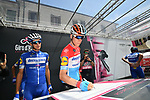 Luxembourg Champion Bob Jungels (LUX) Deceuninck-Quick Step at sign on before Stage 19 of the 2019 Giro d'Italia, running 151km from Treviso to San Martino di Castrozza, Italy. 31st May 2019<br /> Picture: Massimo Paolone/LaPresse | Cyclefile<br /> <br /> All photos usage must carry mandatory copyright credit (© Cyclefile | Massimo Paolone/LaPresse)