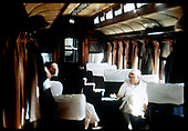 Interior of coach with several passengers.<br /> D&amp;RGW