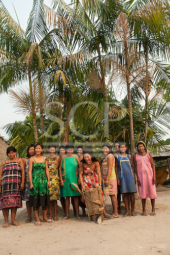 Aldeia Baú, Para State, Brazil. A group of women involved in the babassu nut oil project.