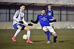 2018-03-03 / Voetbal / Seizoen 2017-2018 / Nijlen - Kampenhout / Stein Lemmens met Willem Brouwers (r. Nijlen)<br /> <br /> ,Foto: Mpics.be