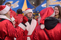 Kiev, Ukraine, 25/12/2004..The third and final round of Ukraine's disputed Presidential election. Supporters of candidate Viktor Yushchenko dressed in Christmas costumes on Christmas Day.