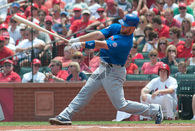 05 June 2011                 Chicago Cubs catcher Koyie Hill (55) at bat. The St. Louis Cardinals defeated the Chicago Cubs 3-2 in ten innings on Sunday June 5, 2011 in the final game of a three-game series at Busch Stadium in downtown St. Louis.