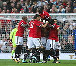 Luis Antonio Valencia of Manchester United is mobbed after scoring the opening goal during the premier league match at the Old Trafford Stadium, Manchester. Picture date 17th September 2017. Picture credit should read: Simon Bellis/Sportimage