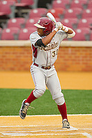 Sherman Johnson #32 of the Florida State Seminoles at bat against the Wake Forest Demon Deacons at Wake Forest Baseball Park on March 24, 2012 in Winston-Salem, North Carolina.  The Seminoles defeated the Demon Deacons 3-2.  (Brian Westerholt/Four Seam Images)