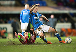 St Johnstone v Aberdeen...23.01.15   SPFL<br /> David Wotherspoon is fouled by Andrew Considine<br /> Picture by Graeme Hart.<br /> Copyright Perthshire Picture Agency<br /> Tel: 01738 623350  Mobile: 07990 594431