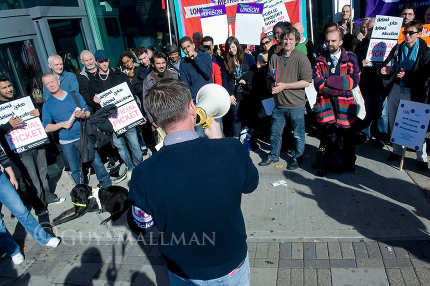 Members of the Unison and UCU Trade Unions go on strike over cuts proposed by management.