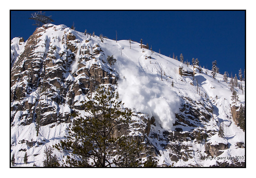 Avalanche down Squaw Valley's Tram Face right before the start of the NIssan Tram face competition, February 28th 2010