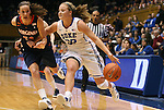 02 January 2012: Duke's Tricia Liston (32) and Virginia's Chelsea Shine (50). The Duke University Blue Devils defeated the University of Virginia Cavaliers 77-66 at Cameron Indoor Stadium in Durham, North Carolina in an NCAA Division I Women's basketball game.
