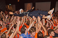 14-sept.-2013,Netherlands, Groningen,  Martini Plaza, Tennis, DavisCup Netherlands-Austria, Jean-Julien Rojer goes crowdsurfing<br /> Photo: Henk Koster