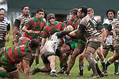Aukustino Tapu & Nafe Vea wrap up Dominic Olson. Counties Manukau Premier Semi-final rugby game between Manurew & Waiuku, played at Mountfort Park Manaurewa on Saturday 1st of August 2009..Waiuku won 23 - 3 and will meet Patumahoe in the final next week at Growers Stadium.
