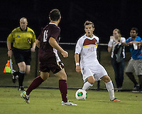 The Winthrop University Eagles played the College of Charleston Cougars at Eagles Field in Rock Hill, SC.  College of Charleston broke the 1-1 tie with a goal in the 88th minute to win 2-1.  Patrick Barnes (11), Brock King (15)