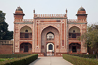 "Agra, India.  Entrance to the  Itimad-ud-Dawlah, Mausoleum of Mirza Ghiyas Beg.  The tomb is sometimes referred to as the ""Baby Taj."""