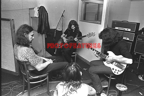Black Sabbath 1970 Geezer Butler Tony Iommi Ozzy Osbourne and Bill Ward at Regents Sounds during Paranoid sessions<br /> &copy; Chris Walter