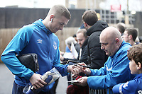 Everton's Jordan Pickford stops to sign autographs for the waiting fans as he arrives at Turf Moor ahead of kick-off,  <br /> <br /> Photographer Rich Linley/CameraSport<br /> <br /> The Premier League - Burnley v Everton - Wednesday 26th December 2018 - Turf Moor - Burnley<br /> <br /> World Copyright &copy; 2018 CameraSport. All rights reserved. 43 Linden Ave. Countesthorpe. Leicester. England. LE8 5PG - Tel: +44 (0) 116 277 4147 - admin@camerasport.com - www.camerasport.com