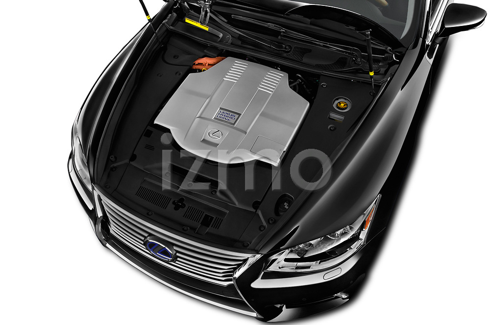 Car Stock 2016 Lexus LS 600H-L-President-Line 4 Door Sedan Engine  high angle detail view