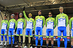 Team Slovenia at sign on before the Men Elite Road Race of the UCI World Championships 2019 running 280km from Leeds to Harrogate, England. 29th September 2019.<br /> Picture: Eoin Clarke | Cyclefile<br /> <br /> All photos usage must carry mandatory copyright credit (© Cyclefile | Eoin Clarke)