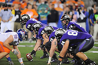 Jan. 4, 2010; Glendale, AZ, USA; TCU Horned Frogs quarterback (14) Andy Daulton prepares to take the snap in the first quarter against the Boise State Broncos in the 2010 Fiesta Bowl at University of Phoenix Stadium. Mandatory Credit: Mark J. Rebilas-