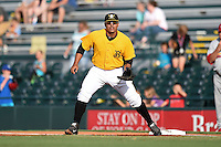 Bradenton Marauders first baseman Jose Osuna (28) holds a runner on during a game against the Palm Beach Cardinals on June 23, 2014 at McKechnie Field in Bradenton, Florida.  Bradenton defeated Palm Beach 11-6.  (Mike Janes/Four Seam Images)