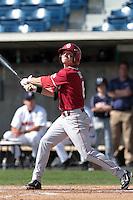 Erik Ross (6) of the Oklahoma Sooners bats against the Pepperdine Waves at Eddy D. Field Stadium on February 18, 2012 in Malibu,California. Pepperdine defeated Oklahoma 10-0.(Larry Goren/Four Seam Images)
