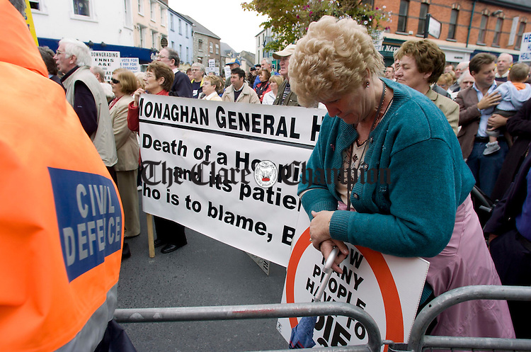 Marian Murphy,Monaghan, during the Hospital Protest.Pic Arthur Ellis. Hospital protest Ennis.Pic Arthur Ellis.....