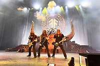 LONDON, ENGLAND - NOVEMBER 30: Johan Söderberg, Ted Lundström and Olavi Mikkonen of 'Amon Amarth' performing at Brixton Academy on November 30, 2019 in London, England.<br /> CAP/MAR<br /> ©MAR/Capital Pictures