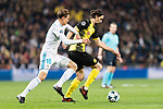Borussia Dortmund Defender Neven Subotic (R) in action against Marcos Llorente of Real Madrid (L) during the Europe Champions League 2017-18 match between Real Madrid and Borussia Dortmund at Santiago Bernabeu Stadium on 06 December 2017 in Madrid Spain. Photo by Diego Gonzalez / Power Sport Images