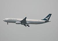 A Cathay Pacific Airbus A330-343 Registration B-LAO landing on Runway 25R at Hong Kong Chek Lap Kok International Airport on 6.4.19 arriving from Bangkok Suvarnabhumi Airport, Thailand.