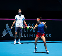 8th November 2019; RAC Arena, Perth, Western Australia, Australia; Fed Cup by BNP Paribas Final Tennis, Australia versus France, Practice Day; Julien Benneteau Captain of France watches Caroline Garcia play a forehand shot during practise - Editorial Use