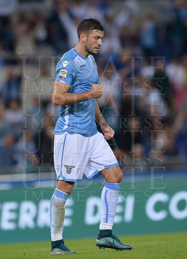 Calcio, Serie A: Lazio vs Frosinone. Roma, stadio Olimpico, 4 ottobre 2015.<br /> Lazio&rsquo;s Filip Djordjevic celebrates after scoring during the Italian Serie A football match between Lazio and Frosinone at Rome's Olympic stadium, 4 October 2015.<br /> UPDATE IMAGES PRESS/Isabella Bonotto
