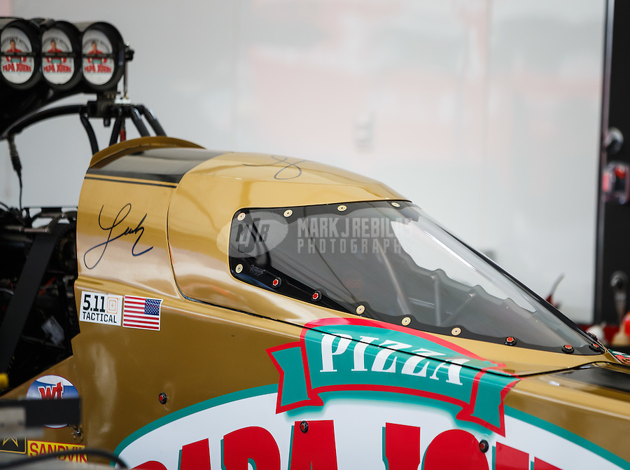 Sep 3, 2016; Clermont, IN, USA; Detailed view of the canopy cockpit on the dragster of NHRA top fuel driver Leah Pritchett during qualifying for the US Nationals at Lucas Oil Raceway. Mandatory Credit: Mark J. Rebilas-USA TODAY Sports