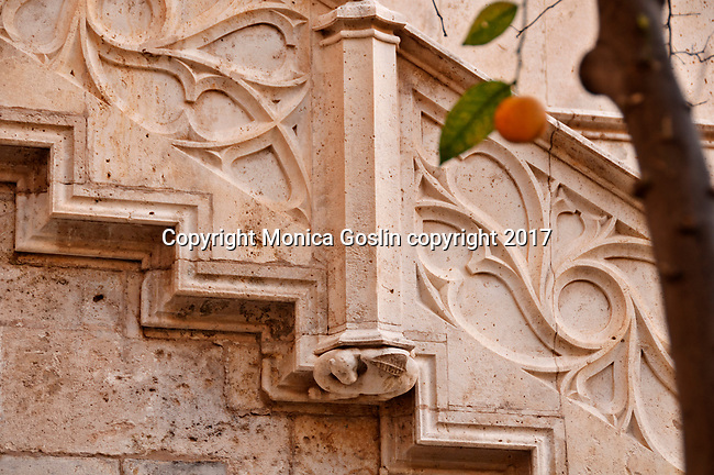 Detail of the stairs in the Orange Garden Courtyard of the 15th century mercantile exchange, La Lonja de la Seda; now a UNESCO site and a museum