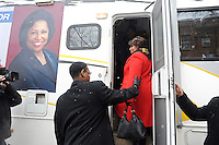 Candidate Carol Moseley Braun, a former U.S. Senator and Ambassador to New Zealand, boards her campaign bus outside Ray School in Hyde Park after voting in the Chicago mayoral elections in Chicago, Illinois on February 22, 2011.