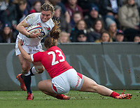 England Women's Sarah Bern is tackled by Wales Women's Lauren Smyth<br /> <br /> Photographer Bob Bradford/CameraSport<br /> <br /> 2020 Women's Six Nations Championship - England v Wales - Saturday 7th March 2020 - The Stoop - London<br /> <br /> World Copyright © 2020 CameraSport. All rights reserved. 43 Linden Ave. Countesthorpe. Leicester. England. LE8 5PG - Tel: +44 (0) 116 277 4147 - admin@camerasport.com - www.camerasport.com