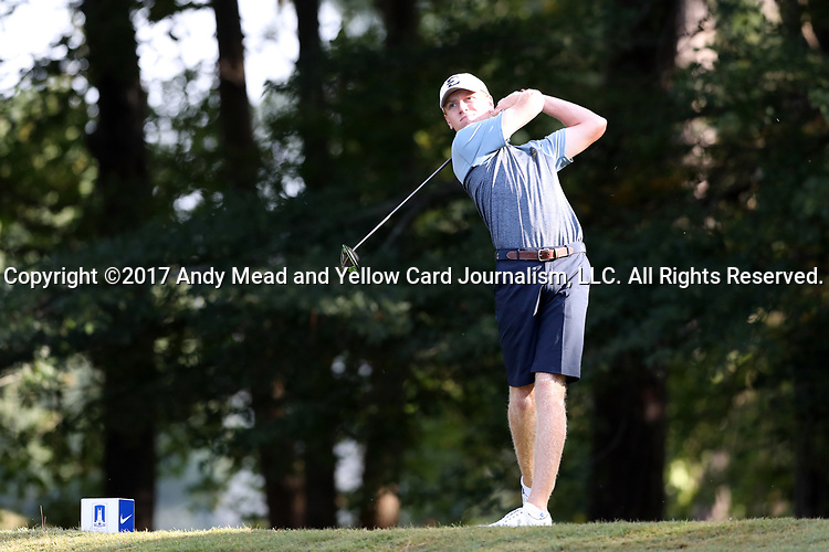 DURHAM, NC - SEPTEMBER 17: East Tennessee's Jack Rhea on the eleventh tee. The third round of the Rod Myers Invitational Men's Golf Tournament was held on September 17, 2017, at the Duke University Golf Club in Durham, NC.