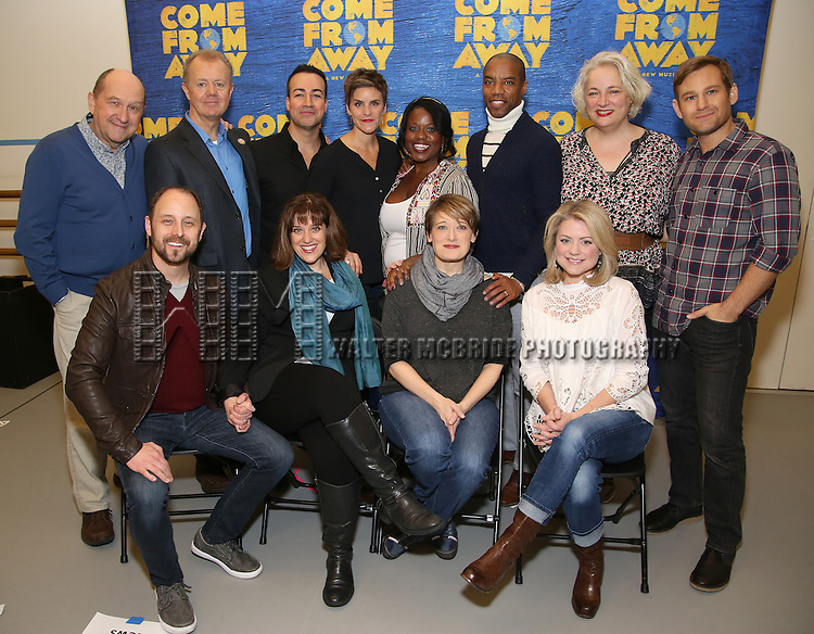 Front row: Geno Carr, Sharon Wheaarley, Petrina Bromley, Kendra Kassebaum Second Row: Joel Hatch,  Lee MacDougall, Caesar Samayoa,Jenn Colella, Q. Smith, Rodney Hicks, Astrid Van Wieren and Chad Kimball attend the press day for Broadway's 'Come From Away' at Manhattan Movement and Arts Center on February 7, 2017 in New York City.