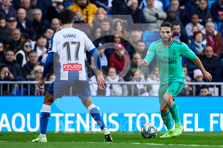 Dani Carvajal of Real Madrid and Dídac Vila of RCD Espanyol during La Liga match between Real Madrid and RCD Espanyol at Santiago Bernabeu Stadium in Madrid, Spain. December 07, 2019. (ALTERPHOTOS/A. Perez Meca)