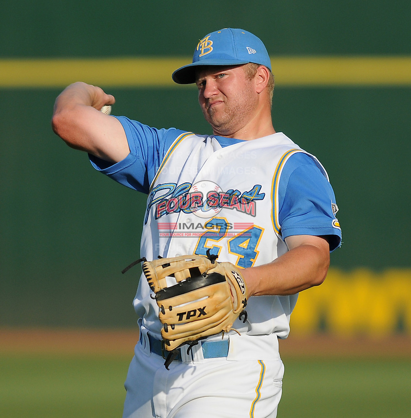 July 7, 2008: Infielder Eric Campbell (24) of the Myrtle Beach Pelicans, Class A affiliate of the Atlanta Braves, in a game against the Wilmington Blue Rocks at BB&T Coastal Field in Myrtle Beach, S.C. Photo by:  Tom Priddy/Four Seam Image