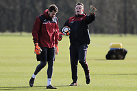 (L-R) Kristoffer Nordfeldt and Tony Roberts, goalkeeping coach in action during the Swansea City Training at The Fairwood Training Ground, Swansea, Wales, UK. Thursday 15 February 2018